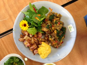 "Nicky Walker's winning dish ""Refried Beans with Squash, Roasted Yams and Aioli"" - and such a treat to eat!"